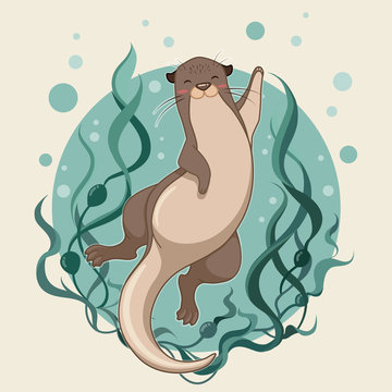 sea otter floating on water with kelp forest vector illustration