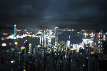 Fotomurales -  Hong Kong from Victoria peak, ltilt shift photo