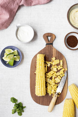 Corn on the cob and ingredients