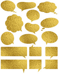 Set of golden glossy labels and bubble over white background, vector