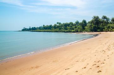 Beautiful deserted tropical beach on Bubaque island, Bijagos archipelago, Guinea Bissau, West Africa