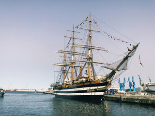 The ship Amerigo Vespucci moored at the port of Palermo, Sicily