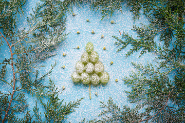 Christmas tree from grapes, new year