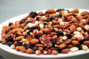 Plate of nuts and raisins