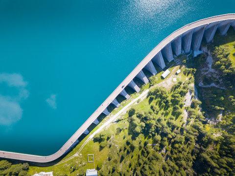Aerial view of Fedaia lake