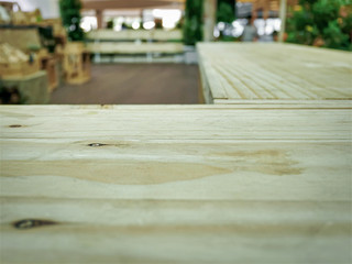 Wooden Table View from the Corner with Selective Focus