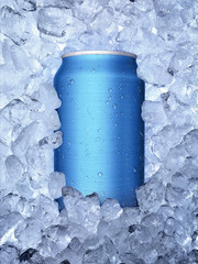 Cans of in ice on white background