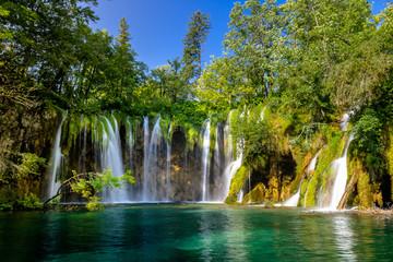 Wall Murals Waterfalls Beautiful waterfall in Plitvice Lakes National Park. Croatia