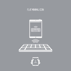 Wireless keyboard connected to tablet - Vector flat minimal icon