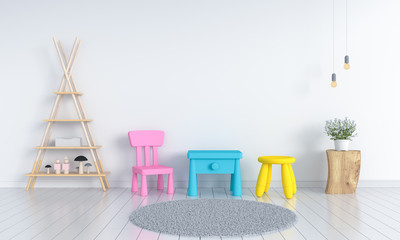 table and chair in white child room interior for mockup, 3D rendering