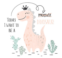 Dinosaur baby girl cute print. Sweet dino princess with crown. Cool brachiosaurus illustration