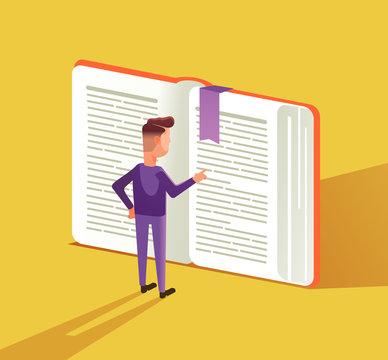 Smart man character reading big book. Education concept flat cartoon graphic design illustration