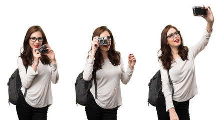 Set of Student woman holding a camera