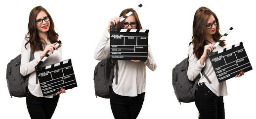 Set of Student woman holding a clapperboard