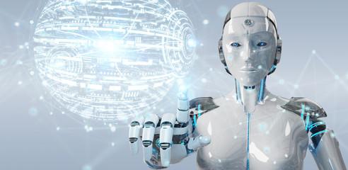 White woman robot using digital globe hud interface 3D rendering
