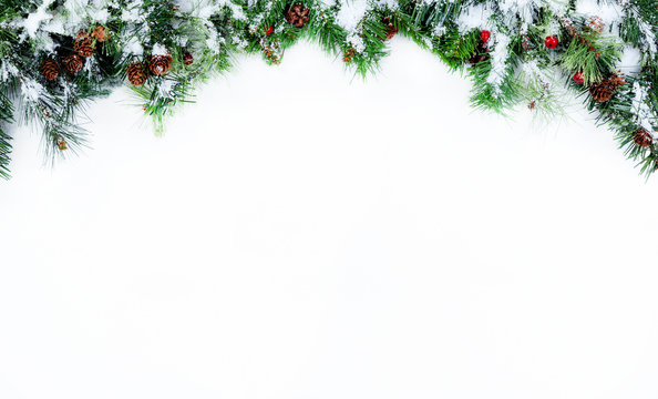 Top Border of Snowy Christmas tree evergreen branches on a white background