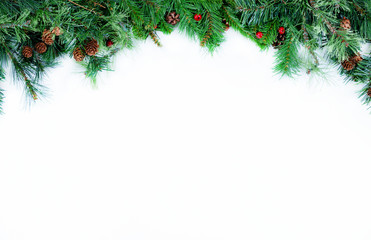 Top Border of Christmas tree evergreen branches on a white background