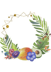 Bright polygonal tropical frame with fruits, flowers and leaves on the white background.