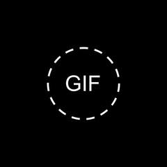 Gif circle line icon on black background
