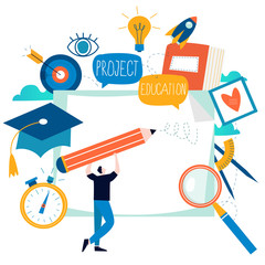Education, online training courses, distance education flat vector illustration. Internet studying, online classes, tutorials, e-learning, online education design for mobile and web graphics