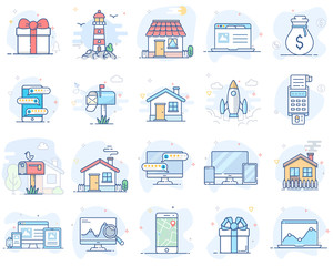 Set of flat line color icons. Vector illustration. Volume 2