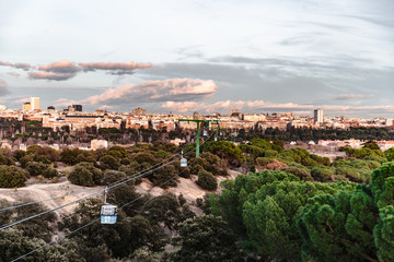 Cable car and cabin over park in Madrid