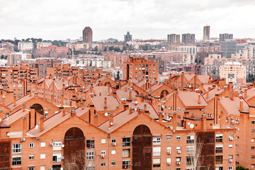 District of residential buildings of red brick in Madrid