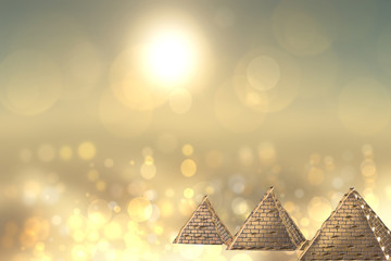 Golden pyramids ancient egypt with golden shinig bokeh background. Egypt template design for travel agency with space for your display product montage.