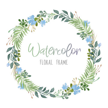 Vector romantic floral round frame with green leaves and blue flowers in watercolor style isolated on white background