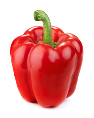 Wall Mural - single ripe red pepper isolated on white background