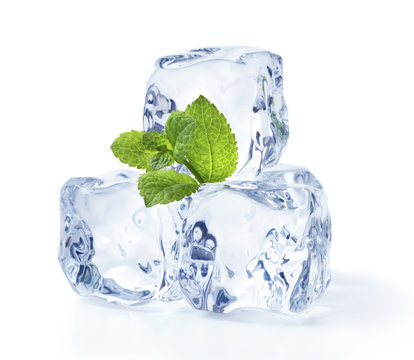 ice cubes with mint leaves isolated on white background