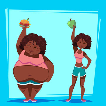 young african american woman with apple and fast food before and after weight loss program. Health concept. Funny cartoon character vector illustration