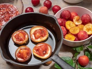 Pancakes with fresh homemade plum jam