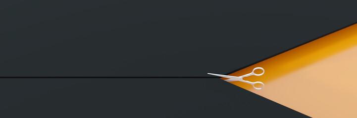 Scissors cutting an infinite surface, original 3d rendering