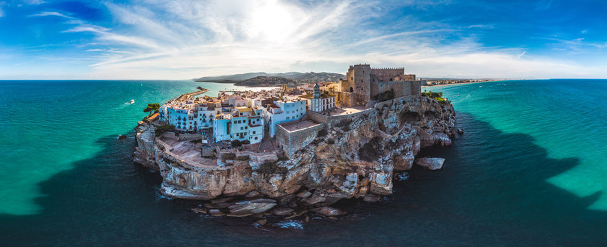 Peniscola, Valencia, Spain. Panoramic drone arial view Summer 2018.