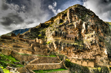 Fotobehang Rudnes Panoramic view to Ollantaytambo archaeological site, Cuzco, Peru