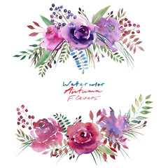 Cute beautiful bright autumn wonderful colorful herbal floral pink violet purple flowers with leaves and berries element watercolor hand illustration. Perfect for greetings card, textile, banners