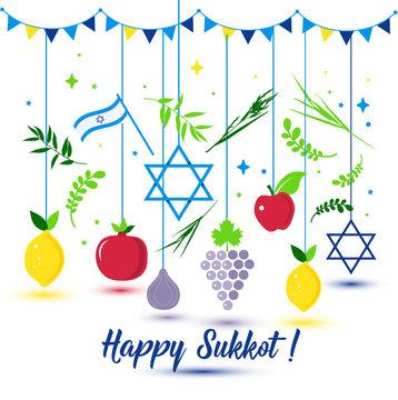Happy Sukkot Holiday. Jewish Holiday Sukkot. Vector Jewish new year. Autumn Fest. Rosh Hashana Israel Sukkah. Palm tree leaves and fruits.