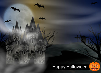 Halloween background with castle, bats to background full moon and pumpkin. Vector