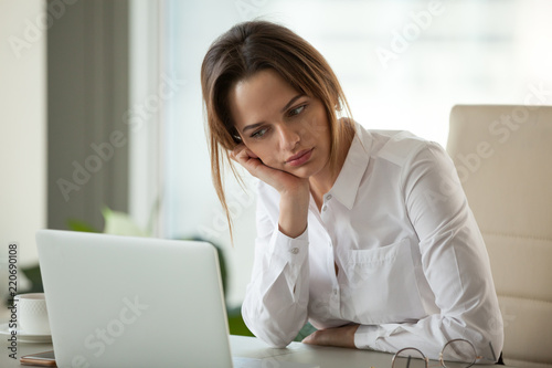 thoughtful businesswoman thinking searching new ideas looking at