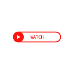 Click to Watch video. Button with shadow. Vector flat design