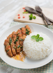 Thai spicy food,Stir-fried chicken whit basil with rice on table wood