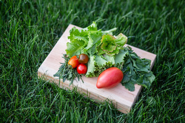 Lettuce, arugula leaves, tomatoes on a wooden plate