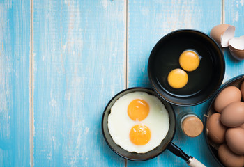 Fried eggs in a frying pan,top view