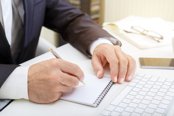 Male businessman writing