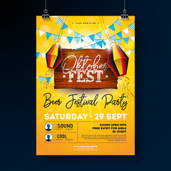 Oktoberfest Party Flyer Design with Typography Lettering on Vintage Wood Board. Vector Traditional German Beer Festival Poster Template for Invitation or Holiday Celebration Poster. Flags and Paper