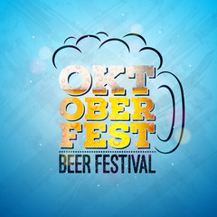 Oktoberfest Banner Illustration with Fresh Lager Beer in Typography Lettering on Shiny Blue Background. Vector Traditional German Beer Festival Design Template for Greeting Card, Celebration Flyer or