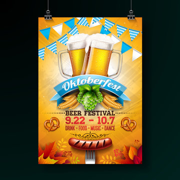 Oktoberfest party poster illustration with fresh lager beer, pretzel, sausage and blue and white party flag on shiny yellow background. Vector celebration flyer template for traditional German beer