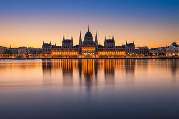 Sunrise at the Parliament building in Budapest, Hungary