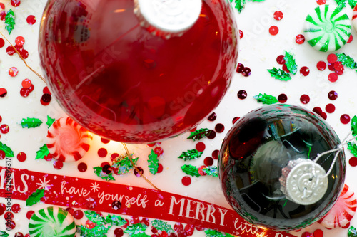 Decoration with red fluid filled christmas ornament ball and two decoration with red fluid filled christmas ornament ball and two green filled ornament balls surrounded by solutioingenieria Choice Image